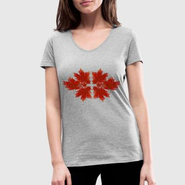 Autumn Colours Foliage - autumn leaves Autumn autumnal - Women's Organic V-Neck T-Shirt by Stanley & Stella