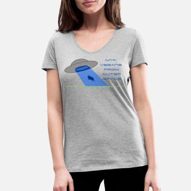 Anti Vegan Anti vegans from outer space - Women's Organic V-Neck T-Shirt by Stanley & Stella