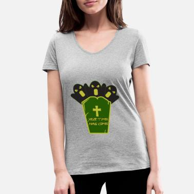 Grave Halloween on a grave - Halloween with a grave - Women's Organic V-Neck T-Shirt