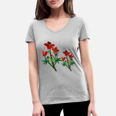 Big Red Cayenne Flowers - Women's Organic V-Neck T-Shirt