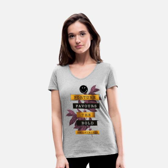 Citations T-shirts - SmileyWorld Fortune Favours - T-shirt bio col V Femme gris chiné