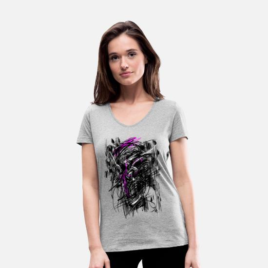 Carneval T-Shirts - Nosferatu Horror Monster Abstract. - Women's Organic V-Neck T-Shirt heather grey