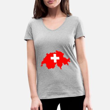 Switzerland Switzerland - Switzerland - Women's Organic V-Neck T-Shirt