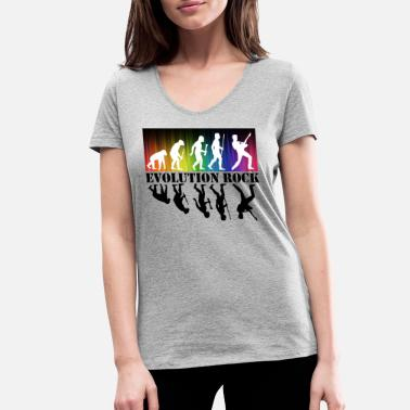 Indie Evolution Rock - Women's Organic V-Neck T-Shirt