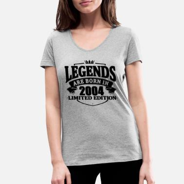 2004 legends are born in 2004 - Women's Organic V-Neck T-Shirt