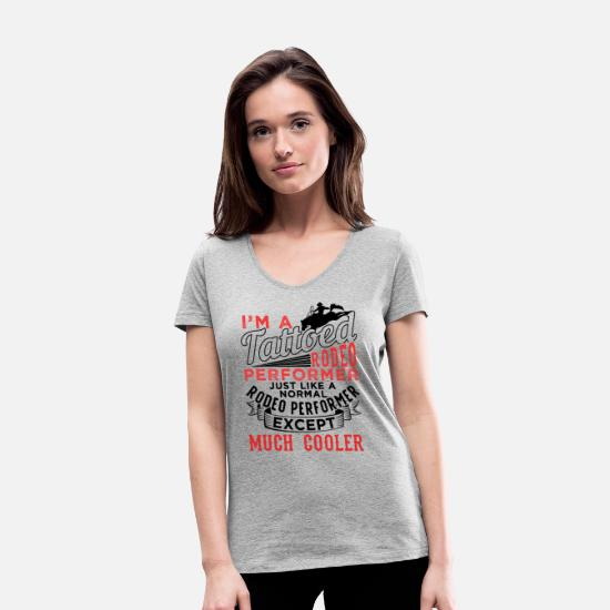 Western T-Shirts - Tattooed rodeo performer - Women's Organic V-Neck T-Shirt heather grey