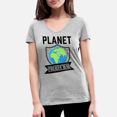 Change Planet Protector Environmental Activist - Women's Organic V-Neck T-Shirt