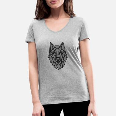 Grey Wolf Geometric Grey Wolf - Women's Organic V-Neck T-Shirt