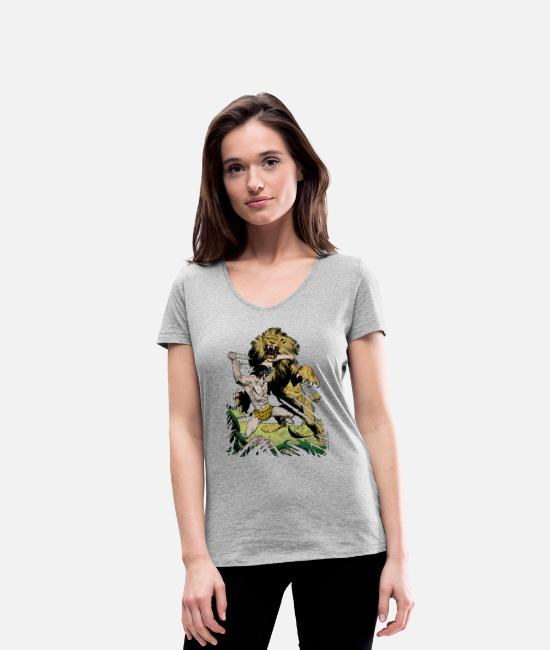 Nature T-Shirts - Tarzan and a wild lion - Women's Organic V-Neck T-Shirt heather grey