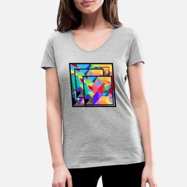 Picture Abstract Picture Poster - T-shirt bio col V Femme
