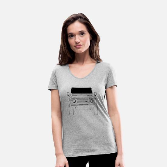 Land T-Shirts - Land Rover Defender Front - Women's Organic V-Neck T-Shirt heather grey