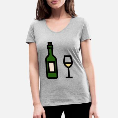 White Wine White wine glass with white wine bottle - Women's Organic V-Neck T-Shirt