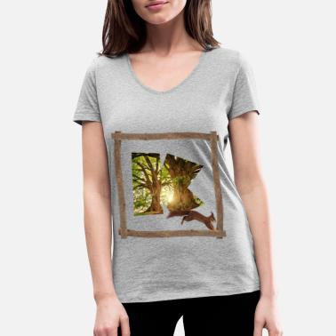 Celtic forest with squirrel k - Women's Organic V-Neck T-Shirt