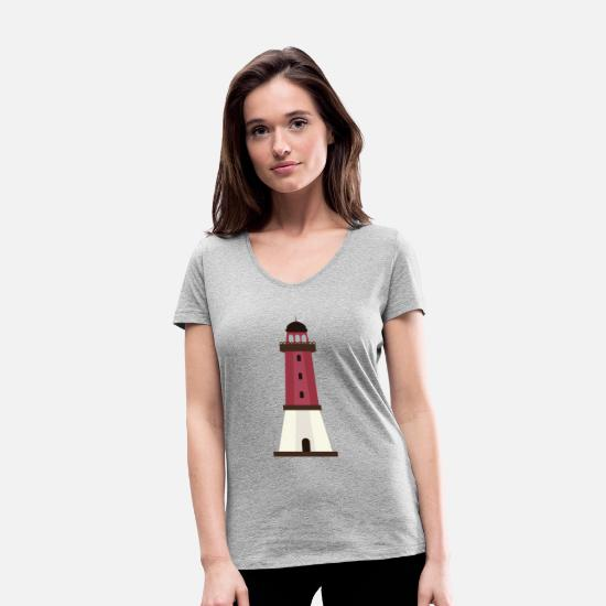 Water T-Shirts - Lighthouse in black, white and grey - Women's Organic V-Neck T-Shirt heather grey