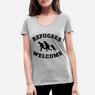 Refugees Welcome Refugees Welcome - Ekologisk T-shirt med V-ringning dam