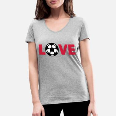 I Love Football Football – Love (I Love Football) - Women's Organic V-Neck T-Shirt
