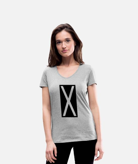 Geometry T-Shirts - Rectangle X - Women's Organic V-Neck T-Shirt heather grey