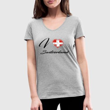 I Love Home Flag Country Roots Switzerland - Women's Organic V-Neck T-Shirt by Stanley & Stella