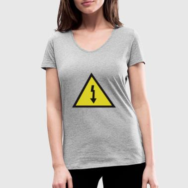 electricity danger signal - Women's Organic V-Neck T-Shirt by Stanley & Stella