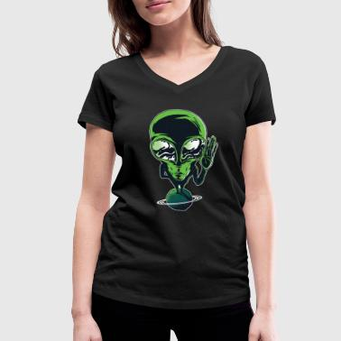 Cool Planet COOL ALIEN ON PLANET - Women's Organic V-Neck T-Shirt by Stanley & Stella