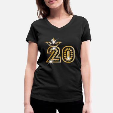 Burlesque 20 - Birthday - Queen - Gold - Burlesque - Women's Organic V-Neck T-Shirt