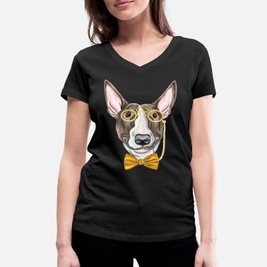Monocle Dog with monocle - Women's Organic V-Neck T-Shirt by Stanley & Stella
