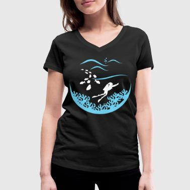Deep Sea Fishing Diving, divers, deep sea - Women's Organic V-Neck T-Shirt by Stanley & Stella