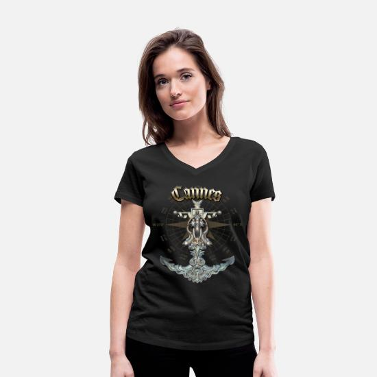 Yacht T-Shirts - Cannes Anchor Nautical Sailing Boat Summer - Women's Organic V-Neck T-Shirt black