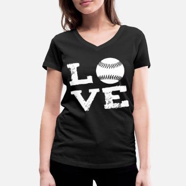 I Love Softball LOVE - Softball - Women's Organic V-Neck T-Shirt by Stanley & Stella