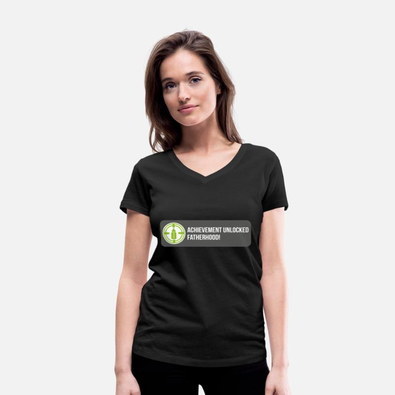 Children T-Shirts - Achievement unlocked: fatherhood - Women's Organic V-Neck T-Shirt black