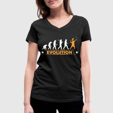 Tennis Is Life Tennis Evolution - orange/weiss - Women's Organic V-Neck T-Shirt by Stanley & Stella