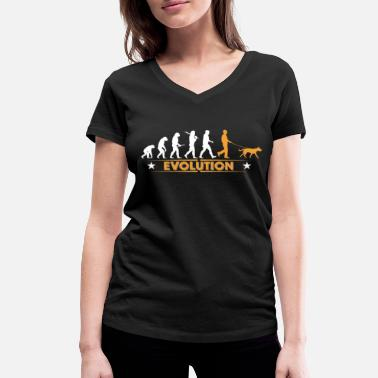 Evolution Walkies Walking Dog Dogs evolution - orange/white - Women's Organic V-Neck T-Shirt by Stanley & Stella