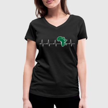 I love Africa - heartbeat - Women's Organic V-Neck T-Shirt by Stanley & Stella