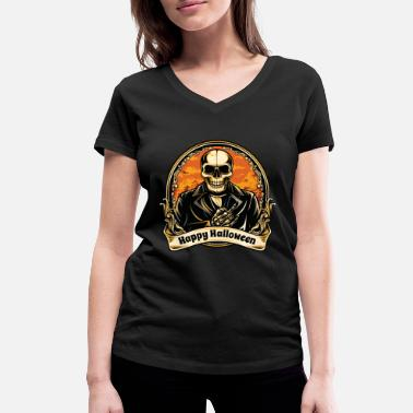 Emblems Kids Happy Halloween skull vintage skeleton emblem - Women's Organic V-Neck T-Shirt by Stanley & Stella