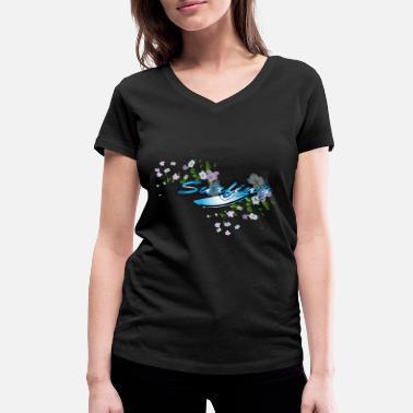 Tabla De Surf Surf tabla de surf con flores - Camiseta con cuello de pico  mujer 0dcaa5d3003