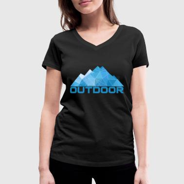 Minimal Geometry Minimal Mountains Geometry Outdoor Hiking T-Shirt - Women's Organic V-Neck T-Shirt by Stanley & Stella