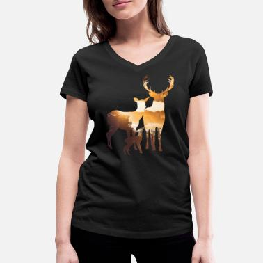 Foggy A small moose family - Women's Organic V-Neck T-Shirt by Stanley & Stella