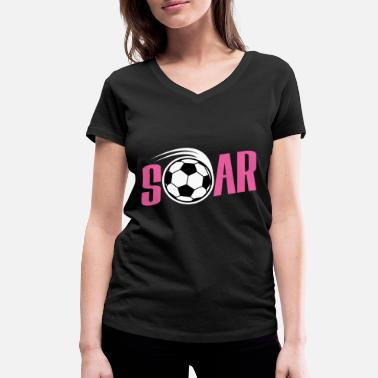 Defender Soars football gift for kids birthday - Women's Organic V-Neck T-Shirt by Stanley & Stella