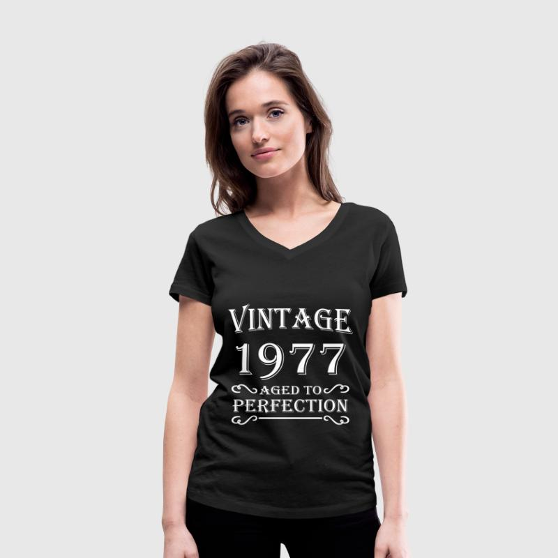 Vintage 1977 - Aged to perfection - T-shirt bio col V Stanley & Stella Femme