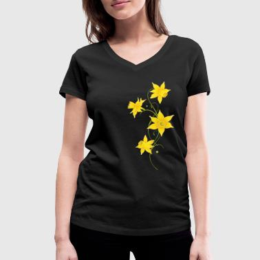 Filigree Daffodils Flowers. Spring, Easter. - Women's Organic V-Neck T-Shirt by Stanley & Stella
