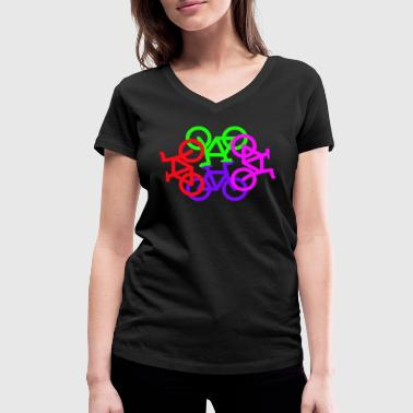 Bike Circle Circle Of Bikes - Women's Organic V-Neck T-Shirt by Stanley & Stella