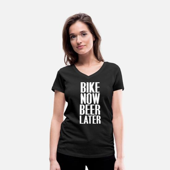 Bike Messenger T-Shirts - Bike-riding bike beer - Women's Organic V-Neck T-Shirt black