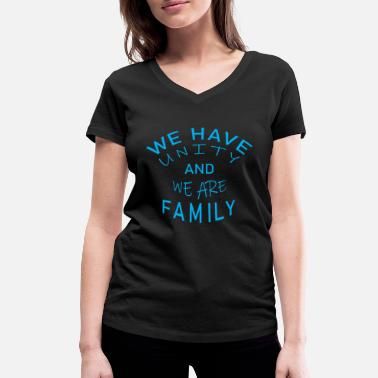 Desire Wear Cool & Awesome Unity Tshirt Design We are Family - Women's Organic V-Neck T-Shirt by Stanley & Stella
