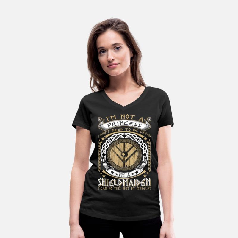 Viking T-Shirts - I'm a Shieldmaiden - EN - Women's Organic V-Neck T-Shirt black