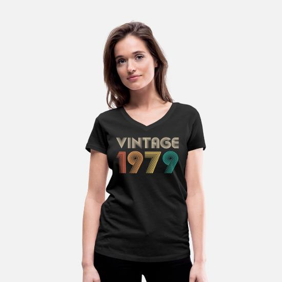1979 T-Shirts - Vintage 1979 40th birthday gift retro bday - Women's Organic V-Neck T-Shirt black
