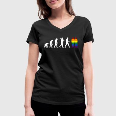 Gay Evolution Men - EN - Vrouwen bio T-shirt met V-hals van Stanley & Stella