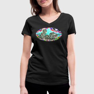 Across the Tracks Blur - Women's Organic V-Neck T-Shirt by Stanley & Stella