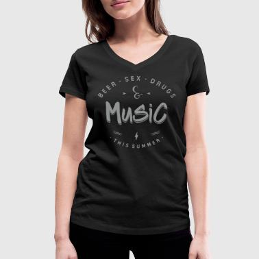 music this summer - Women's Organic V-Neck T-Shirt by Stanley & Stella