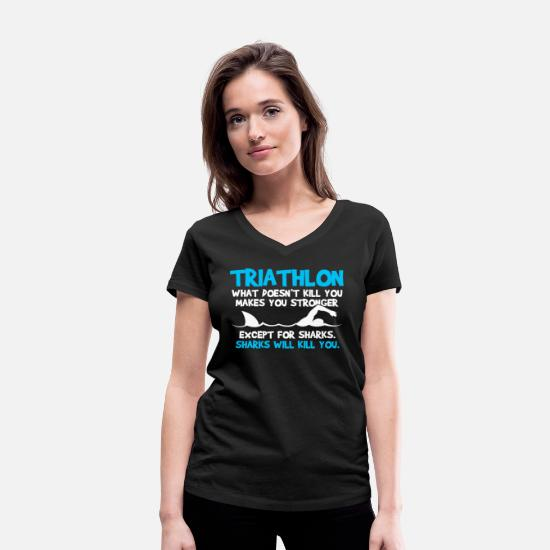 Triathlon T-Shirts - Triathlon - Sport Triathlete Funny Gift - Women's Organic V-Neck T-Shirt black