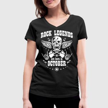Rock Legends are born in October Skull Music Star - Frauen Bio-T-Shirt mit V-Ausschnitt von Stanley & Stella
